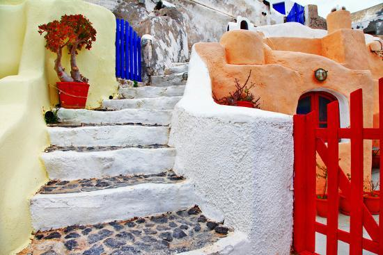 Colors of Santorini Series - Pictorial Detail of Oia Village-Maugli-l-Photographic Print