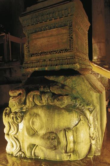 Colossal Head of Medusa Used as the Base of a Column in the Basilica Cistern--Photographic Print