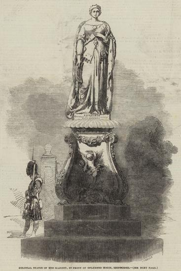 Colossal Statue of Her Majesty, in Front of Holyrood House, Edinburgh--Giclee Print
