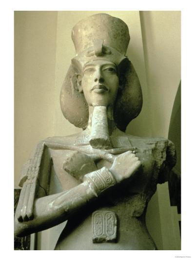 Colossal Statue of King Akhenaten Detail of Head and Upper Torso, New Kingdom--Giclee Print