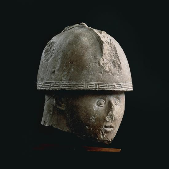 Colossal Stone Head of Warrior with Crested Helmet, from Numana, Province of Ancona--Giclee Print