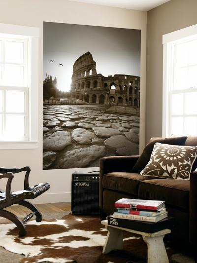 Colosseum and Via Sacra, Rome, Italy-Michele Falzone-Giant Art Print