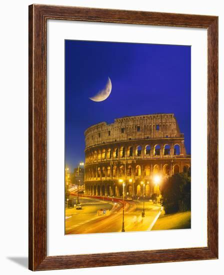 Colosseum at Night, Rome, Italy-Terry Why-Framed Premium Photographic Print