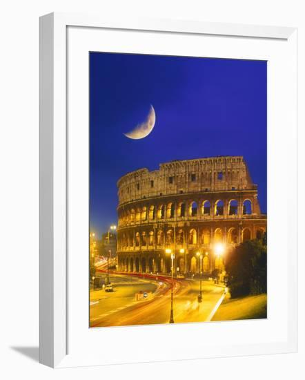 Colosseum at Night, Rome, Italy-Terry Why-Framed Photographic Print