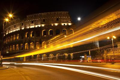 Colosseum Modern Street Abstract Night Moon Time Lapse, Rome, Italy Built by Vespacian-William Perry-Photographic Print