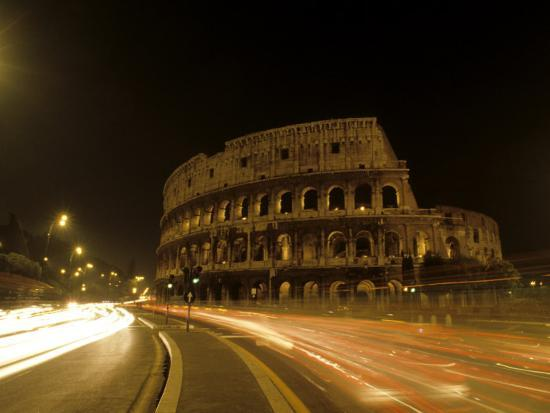 Colosseum Ruins at Night, Rome, Italy-Bill Bachmann-Photographic Print