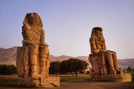 Colossi Of Memnon In Egypt-Charles Bowman-Photographic Print