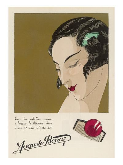 Colour Advertisement for a Hair Comb Worn in the Shingled Bob of an Elegant 1920s Lady--Giclee Print