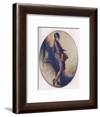 Colour Illustration by Lewis Baumer Showing a Fashionable Flapper Girl Out Shopping--Framed Giclee Print