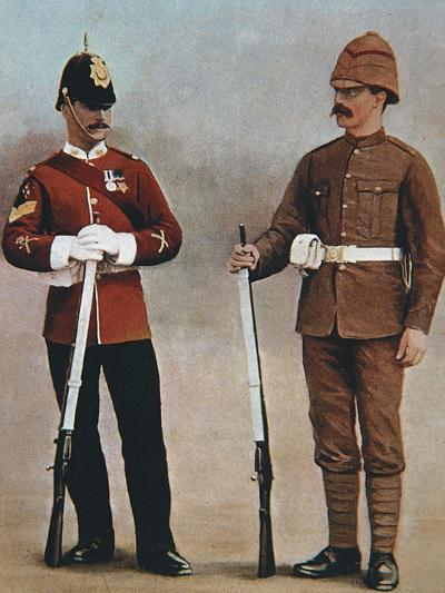 Colour-Sergeant and Private of the Gloucester Regiment Demonstrating 2 Styles of British Uniform--Photographic Print