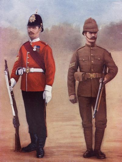 Colour-Sergeant of the West Yorkshire Regiment, Left, and a Sergeant of the Yorkshire Regiment-Louis Creswicke-Giclee Print