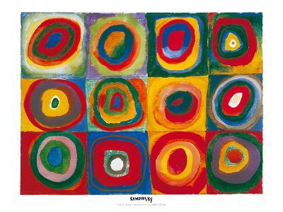 Colour Study - Squares And Concentric Circles-Wassily Kandinsky-Art Print