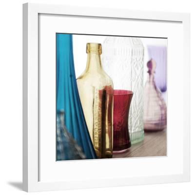 Coloured Bottles in a Row 02-Tom Quartermaine-Framed Giclee Print