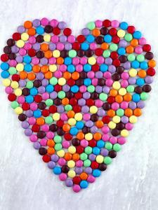 Coloured Chocolate Beans Forming Heart