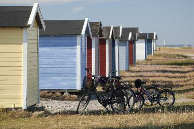 Colourful Beach Huts and Bicycles, South Sweden-Stuart Black-Photographic Print