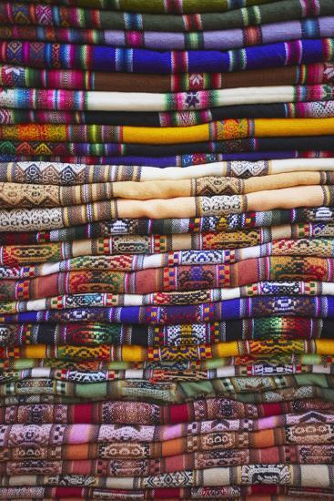Colourful Blankets in Witches' Market, La Paz, Bolivia, South America-Ian Trower-Photographic Print