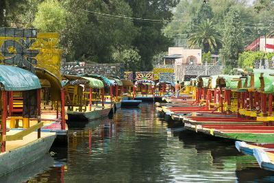 Colourful Boats at the Floating Gardens in Xochimilco-John Woodworth-Photographic Print