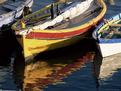 Colourful Boats Reflected in the Water of the Harbour, Sete, Herault, Languedoc-Roussillon, France-Ruth Tomlinson-Photographic Print