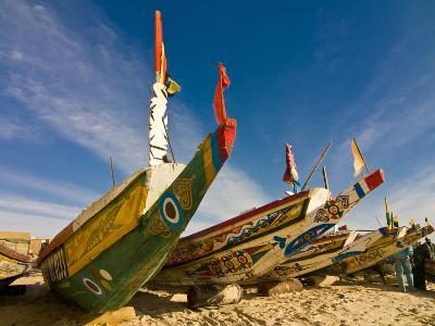 Colourful Fishing Boats at the Fishing Habour, Nouakchott, Mauritania, Africa-Michael Runkel-Photographic Print