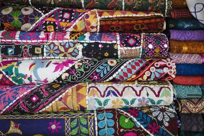 Colourful Hand Woven Fabrics at Mapusa Market, Goa, India, Asia-Yadid Levy-Photographic Print