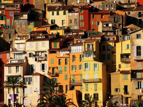 Colourful Houses Clustered on Hillside, Menton, Provence-Alpes-Cote d'Azur, France-David Tomlinson-Photographic Print