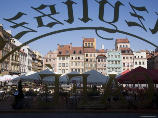 Colourful Houses of the Old Town Square Viewed Through a Cafe Window, Old Town, Poland-Gavin Hellier-Photographic Print