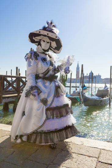 Colourful mask and costume of the Carnival of Venice, famous festival worldwide, Venice, Veneto, It-Roberto Moiola-Photographic Print
