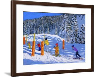 Colourful Skiing, Les Arcs, France, 2018-Andrew Macara-Framed Giclee Print