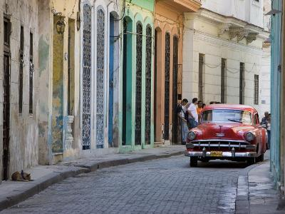 Colourful Street With Traditional Old American Car Parked, Old Havana, Cuba, West Indies, Caribbean-Martin Child-Photographic Print