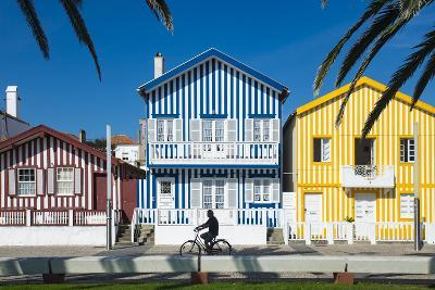 Colourful Stripes Decorate Traditional Beach House Style on Houses in Costa Nova, Portugal, Europe-Alex Treadway-Photographic Print