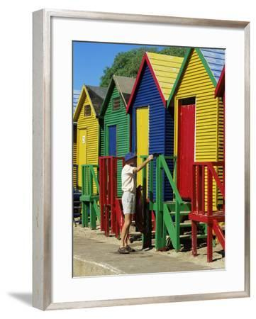 Colourfully Painted Victorian Bathing Huts in False Bay, Cape Town, South Africa, Africa-Yadid Levy-Framed Photographic Print