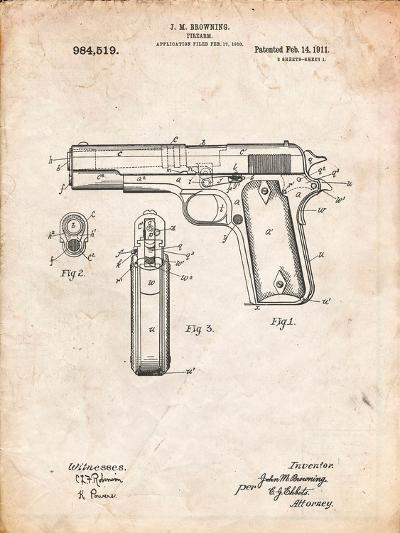 Colt 45 Patent 1911, Firearm Patent-Cole Borders-Art Print