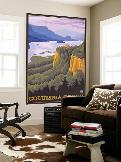Columbia River Gorge Scene with Crown Point-Lantern Press-Wall Mural