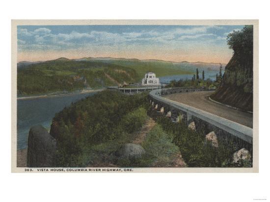 Columbia River, Oregon - Vista House View and Gorge-Lantern Press-Art Print