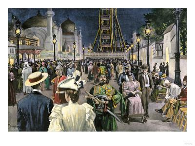 Columbian Exposition Visitors Strolling Along the Midway at Night, Chicago 1893--Giclee Print