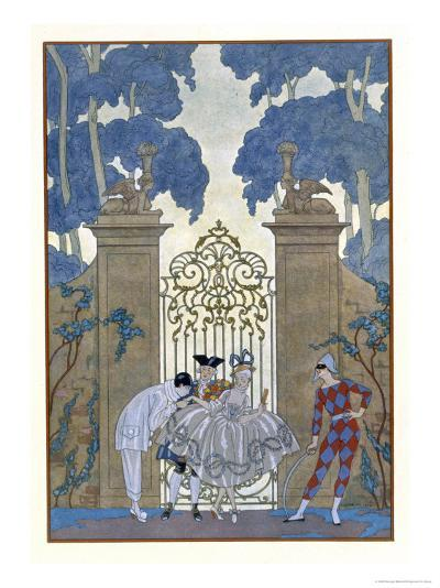 Columbine, Illustration For Fetes Galantes by Paul Verlaine-Georges Barbier-Giclee Print