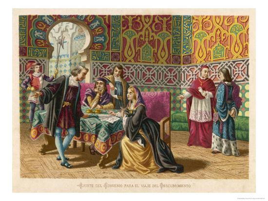 Columbus Agrees Terms with King Ferdinand and Queen Isabella- Planetta-Giclee Print