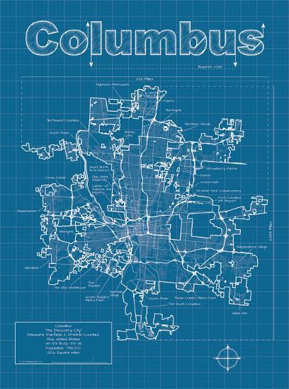 Columbus Artistic Blueprint Map-Christopher Estes-Art Print
