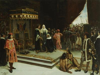 Columbus Before the Spanish Court after His Return from the Americas, 1894-Jose Agustin Arrieta-Giclee Print