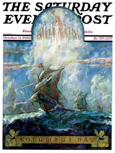 """""""Columbus Day,"""" Saturday Evening Post Cover, October 11, 1930-H.W. Tilson-Giclee Print"""