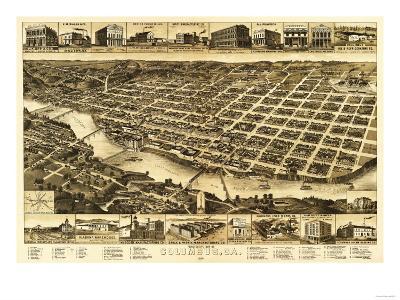 Columbus, Georgia - Panoramic Map-Lantern Press-Art Print