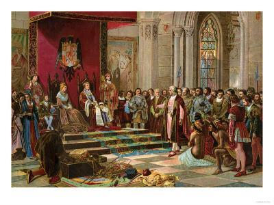 Columbus Greeted by King Ferdinand and Queen Isabella Upon His Return to Spain from the New World--Giclee Print