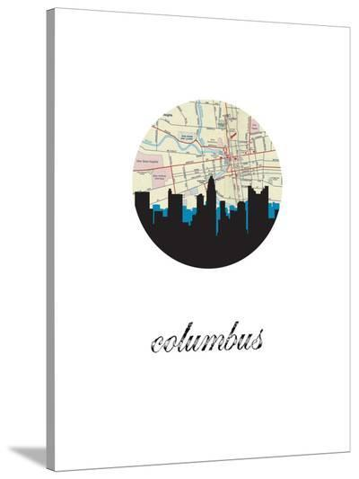 Columbus Map Skyline-Paperfinch 0-Stretched Canvas Print