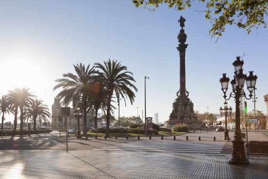 Columbus Monument (Monument a Colom), Placa del Portal de la Pau, Barcelona, Catalonia, Spain, Euro-Markus Lange-Photographic Print