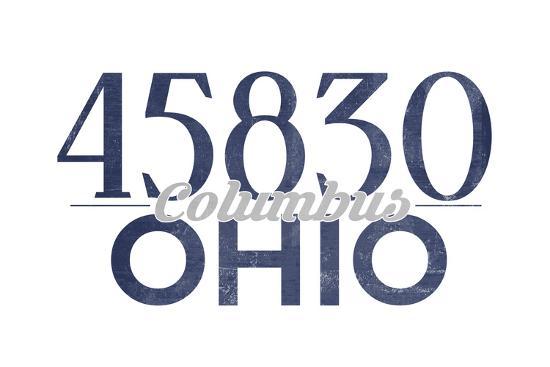 Columbus, Ohio - 45830 Zip Code (Blue)-Lantern Press-Art Print
