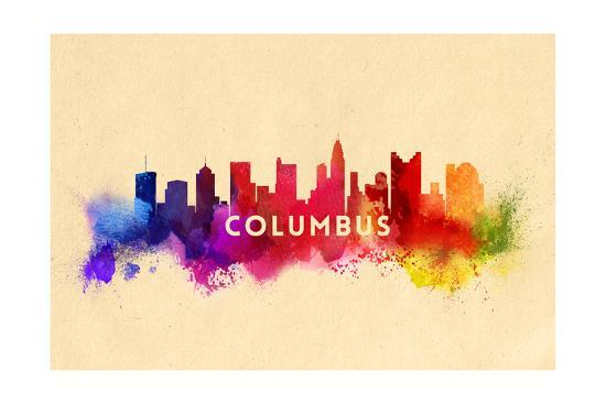 Columbus, Ohio - Skyline Abstract-Lantern Press-Art Print