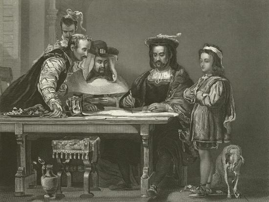 Columbus Planning the Discovery of America, 15th Century-Sir David Wilkie-Giclee Print