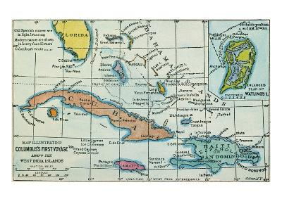Columbus: West Indies Map--Giclee Print