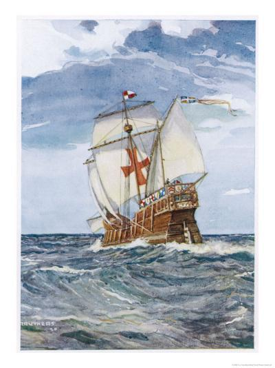 Columbuss Caravel Formerly the Marigalante-C^p^ Carruthers-Giclee Print