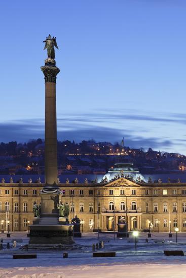 Column at Schlossplatz Square and Neues Schloss Castle-Markus Lange-Photographic Print